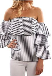 black and white off the shoulder bell sleeve top