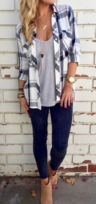 fall casual outfit dressed up plaid