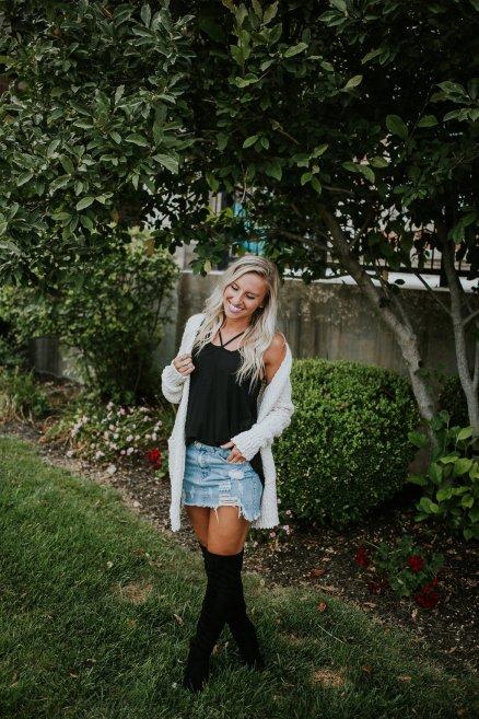 fall winter outfit jean skirt with cardigan sweater and high boots