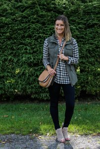 With a gingham top, black skinny jeans and booties