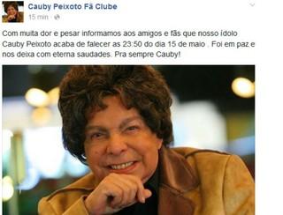 Comunicado na página oficial de Cauby Peixoto no Facebook (Foto: Reprodução/Facebook)