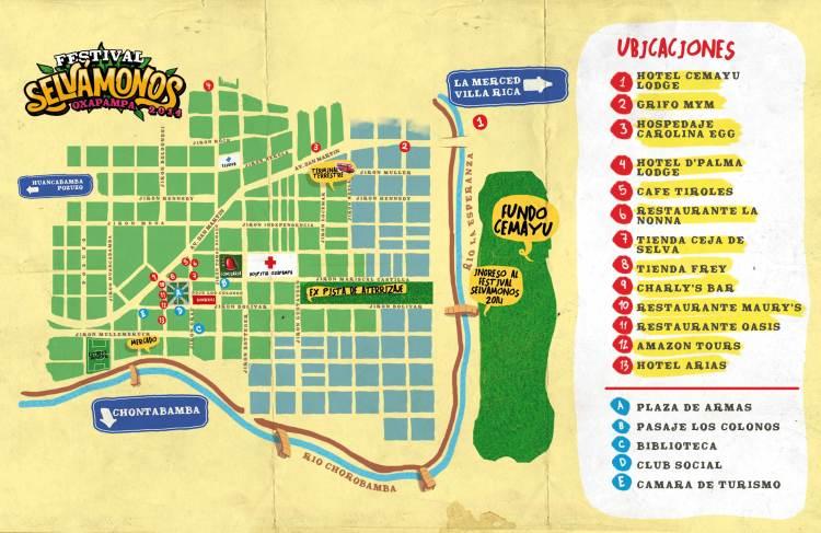 Mapa de lugares del centro de Oxapampa