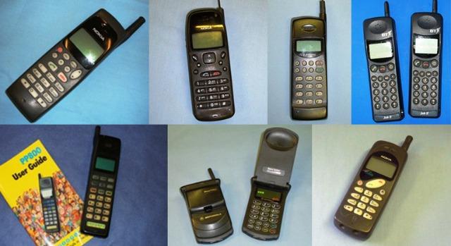 Primera generación de teléfonos de los años noventa.