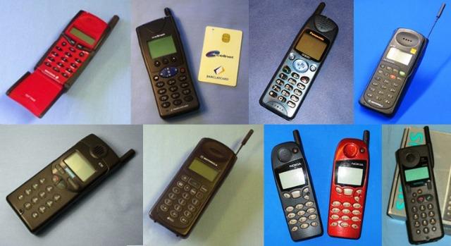 Teléfonos 2G de mitad de la década de los noventa.