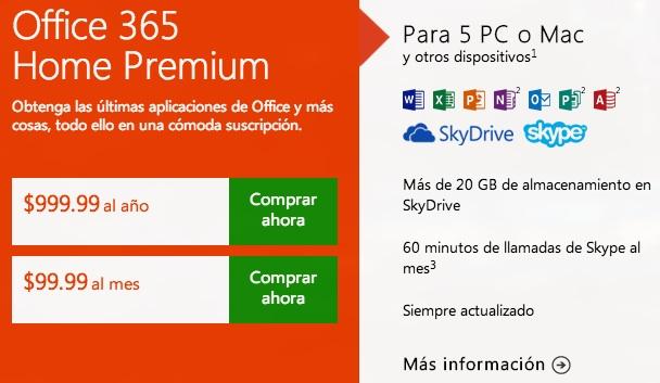 Office 2013 precios suscripcion