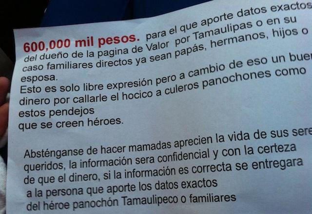 Narcomensaje Tamaulipas