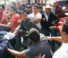 Confrontaciónen Texcoco por marcha que se opone a la construcción del aeropuerto en Atenco