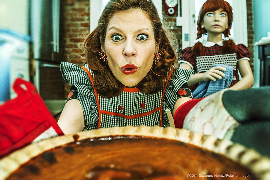 Artist buys immitation family to satirize conformity