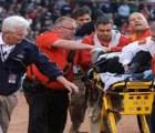 Durante partido de beisbol pedazo de bate golpea a mujer