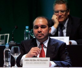 FIFA Vice President Prince Ali bin al-Hussein of Jordan attends the CONMEBOL ordinary congress in Luque March 4, 2015. The South American Football Confederation (CONMEBOL) will support Sepp Blatter?s re-election as FIFA president in May, a CONMEBOL source told Reuters on Tuesday. Blatter, who has headed FIFA since 1998, flew into Asuncion on Tuesday on the eve of CONMEBOL?s congress that will hand its president, Paraguayan Juan Angel Napout, another four-year term.  REUTERS/Jorge Adorno (PARAGUAY - Tags: SPORT SOCCER ROYALS) - RTR4S1GC