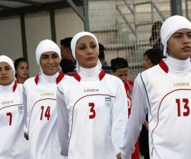 A picture dated June 3, 2011 shows players of the Iranian national women football team enter the stadium in Amman, moments before they were barred from playing an Olympic qualifier against Jordan for wearing the traditional Islamic headscarf. The row over the dress code of Iran's women team has been at the heart of a struggle between FIFA and the Iranian football federation. AFP PHOTO/STR (Photo credit should read -/AFP/Getty Images)