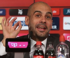 New FC Bayern Munich head coach Pep Guardiola arrives for a news conference in Munich, southern Germany, on Monday, June 24, 2013. (AP Photo/Matthias Schrader)