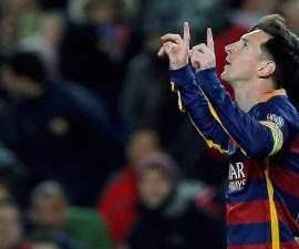 Barcelona's Lionel Messi celebrates after scoring his side's second goal during the Group E Champions League soccer match between Barcelona and Roma at the Camp Nou stadium in Barcelona, Spain, Tuesday Nov. 24, 2015. (AP Photo/Manu Fernandez)