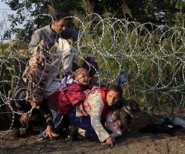 Migrantes cruzan frontera de Hungria con Serbia. Fotografía: Bernadett Szabo—Reuters