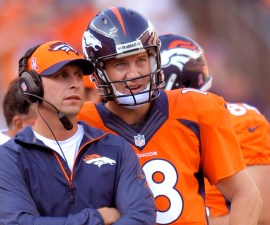 "CORRECTS FIRST NAME FOR GASE TO ADAM, INSTEAD OF RICK - In this Oct. 13, 2013, photo, Denver Broncos quarterback Peyton Manning and offensive coordinator Adam Gase look at the scoreboard during an NFL football game against the Jacksonville Jaguars in Denver. John Elway, the Broncos' executive vice president, has high praise of Gase, whom he called ""studly"" for putting off interviews for head coaching vacancies until after Denver's season is over and says he would have loved to play for the Broncos' aggressive play-caller. (AP Photo/Jack Dempsey)"