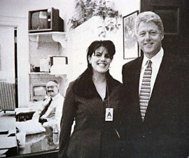 BILL CLINTON President of the USA with MONICA LEWINSKY A White House Internee The photograph was taken in the White House and shown for the first time as part of the Kenneth Starr Report. It was released at the same time as a video of the President's four-hour interrogation concerning his relationship with Miss Lewinsky by the Grand Jury was seen on television around the world. Bandphoto Agency Photo B89 055927   22.09.1998
