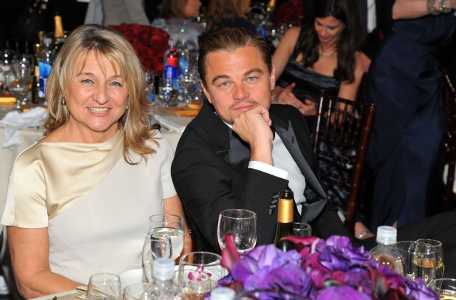 69th ANNUAL GOLDEN GLOBE AWARDS -- Pictured: (l-r) Irmelin DiCaprio and Leonardo DiCaprio during the 69th Annual Golden Globe Awards held at the Beverly Hilton Hotel on January 15, 2012 (Photo by Vince Bucci/NBC/NBCU Photo Bank via Getty Images)