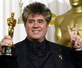 "Director Pedro Almodovar poses with his Oscar for Best Original Screenplay at the 75th Academy Awards in Hollywood, California, 23 March, 2003. Pedro Almodovar won for his work on ""Talk to Her."" This was his first writing nomination. He was also nominated for his directing work in ""Talk To Her."" He was the director for the Oscar-winning Spanish entry for Foreign Language Film ""All about My Mother"" in 1999.   AFP PHOTO Lee CELANO"