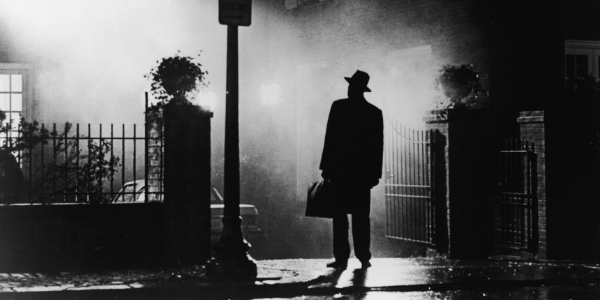 A silhouette of a man stands in front of a house at night in a still from the film,' The Exorcist', directed by William Friedkin, 1973. (Photo by Warner Bros./Courtesy of Getty Images)