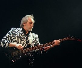 PARIS, FRANCE:  Bassist John Entwistle of The Who plays 13 May 1997 on the stage of the Zenith in Paris. The music world mourned the bass guitarist, 57, who died 27 June 2002 of a heart attack in a Las Vegas hotel room at the Hard Rock Cafe Hotel and Casino.  AFP PHOTO JOEL SAGET (Photo credit should read JOEL SAGET/AFP/Getty Images)