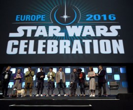LONDON, ENGLAND - JULY 17:  (L-R) Mark Hamill, Carrie Fisher, John Boyega, Alden Ehrenreich, Phil Lord, Chris Miller, Rian Johnson, Kiri Hart, Kathleen Kennedy and Pablo Hidalgo on stage during Future Directors Panel at the Star Wars Celebration 2016 at ExCel on July 17, 2016 in London, England.  (Photo by Ben A. Pruchnie/Getty Images for Walt Disney Studios)