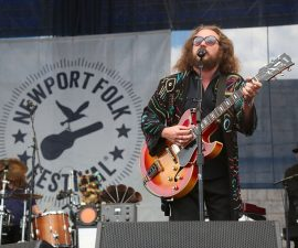 NEWPORT, RI - JULY 24:  Jim James of My Morning Jacket as they perform a surprise show during the 2015 Newport Folk Festival at Fort Adams State Park on July 24, 2015 in Newport, Rhode Island.  (Photo by Taylor Hill/Getty Images)