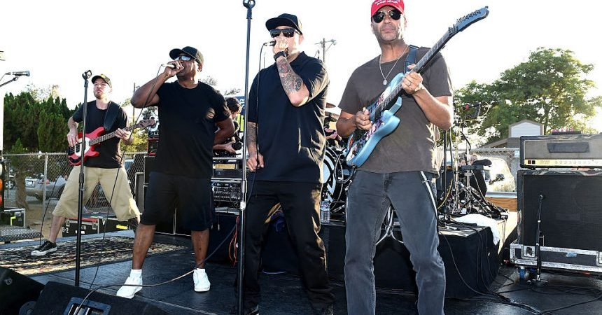 NORCO, CA - AUGUST 10:  (L-R) Musicians Tim Commerford, Chuck D, B-Real and Tom Morello of Prophets of Rage perform outside of the California Rehabilitation Center on August 10, 2016 in Norco, California.  (Photo by Kevin Winter/Getty Images)