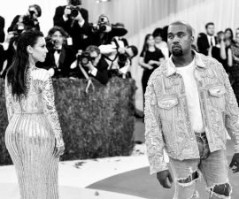 """NEW YORK, NY - MAY 02:  (EDITORS NOTE: Image has been converted to black and white.) Kim Kardashian (L) and Kanye West attend the """"Manus x Machina: Fashion In An Age Of Technology"""" Costume Institute Gala at Metropolitan Museum of Art on May 2, 2016 in New York City.  (Photo by Mike Coppola/Getty Images for People.com)"""