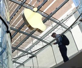 NEW YORK, NY - JULY 27: A man visits the Apple Store, Upper West Side on July 27, 2016 in New York City. On Tuesday, Apple reported a steep slump in revenue and profit, but  beat analyst projections. The maker of the iPhone and iPad reported third-quarter profit sliding 27 percent to $1.42 per share, according to published reports. Analysts had expected $1.39 per share, according to the reports. Apple's share price today jumped on forward guidance from the company.  (Photo by Kena Betancur/Getty Images)