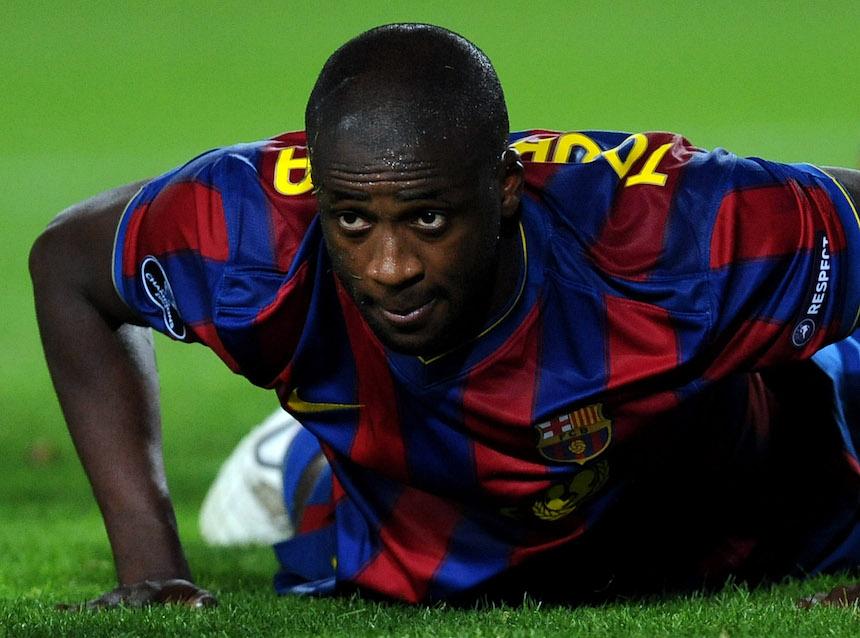 Yaya Touré con el Barcelona