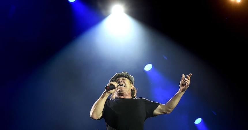 LOS ANGELES, CA - SEPTEMBER 28:  Singer Brian Johnson of AC/DC performs at Dodger Stadium on September 28, 2015 in Los Angeles, California.  (Photo by Kevin Winter/Getty Images)