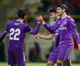 Morata celebra con Real Madrdi