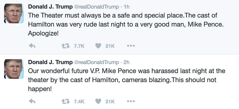 Donald Trump Tuits Hamilton
