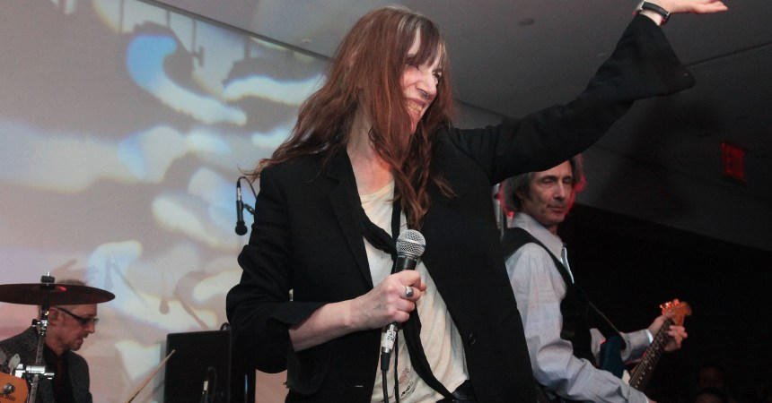 NEW YORK - FEBRUARY 11:  (L-R) Singer Patti Smith and guitarist Lenny Kaye perform during the LNA Fall 2010 Presentation After Party at Milk Studios on February 11, 2010 in New York City.  (Photo by Astrid Stawiarz/Getty Images)