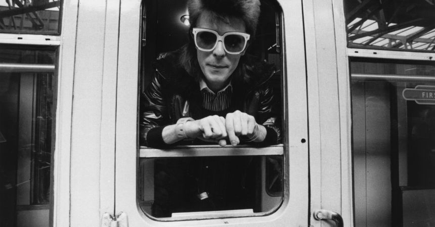 9th July 1973:  Pop singer David Bowie prepares to do some mileage with British Rail.  (Photo by Smith/Express/Getty Images)