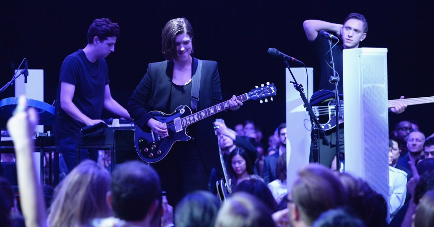 NEW YORK, NY - NOVEMBER 05:  The xx performs onstage at the Guggenheim International Gala Pre-Party made possible by Dior on November 5, 2014 in New York City.  (Photo by Dimitrios Kambouris/Getty Images for Dior)