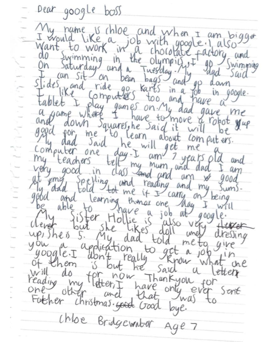 Chloe carta a Google