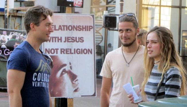 Matt (left) witnesses to couple in downtown Berkeley.