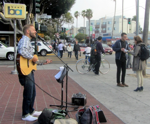 CAL SINGS AND JACOB WITNESSES AT 24TH AND MISSION.