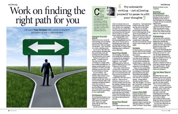 Tracy Dempsey's wellbeing column in the Irish Sunday Mirror - long-term job-hunters
