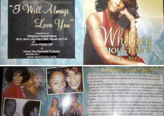 Whitney Houston Funeral Program