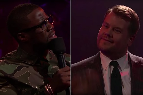 Kevin Hart and James Corden Battle on Mic Drop Segment of The Late Late Show