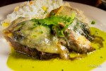 BEEF TENDORLOIN DON GUILLERMO. With huitlacoche (corn truffle), melted manchego cheese and chile poblano cream sauce, served with the house white rice.