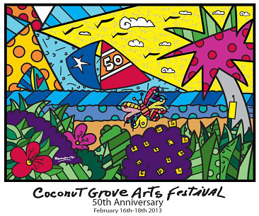 "Titled ""Paraiso"" (Portuguese for ""paradise""), world-renowned artist Romero Britto created the Coconut Grove Arts Festival 50th Anniversary Poster."