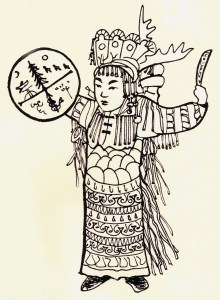 The Nishan Shaman with drum, antlered headdress, and robes with leather streamers