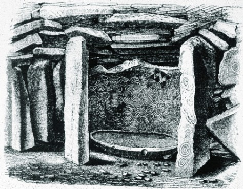 Backstone of Cairn L, Carnbane West, Loughcrew (from Wood-Martin, Elder Faiths of Ireland)