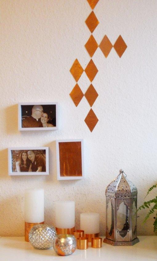 diy deko kerzen und wandsticker im kupfer look. Black Bedroom Furniture Sets. Home Design Ideas