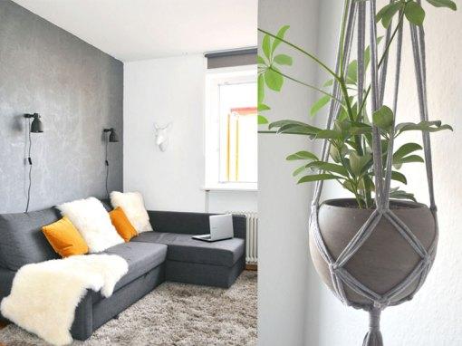 Pretty in grey unser wohnzimmer plus diy blumenampel - Wohnzimmer pflanze groay ...