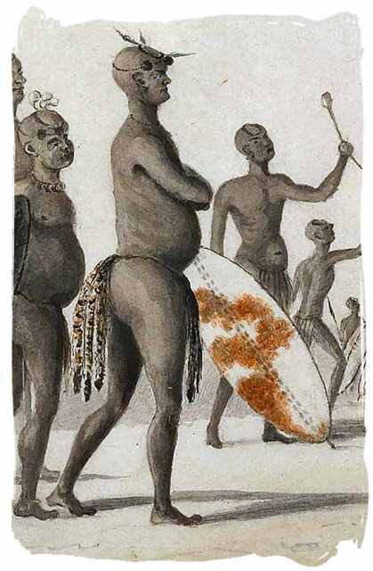Watercolour sketch of Mzilikazi, chief of the Khumalo tribe and later king of the Matabele