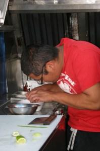 Chef Charles Slonaker preparing the coconut crab.